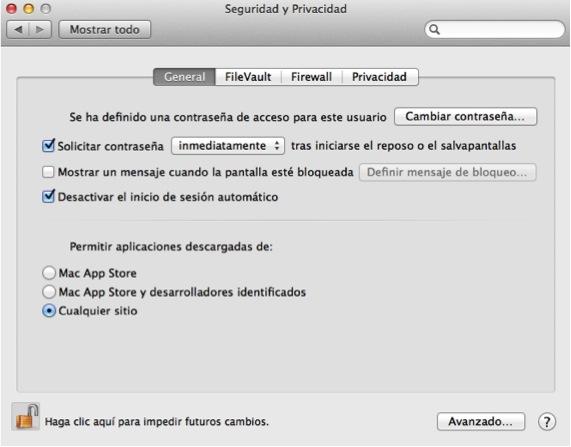 Ventana de Gatekeeper desbloqueada Ajustar las opciones de seguridad en OSX