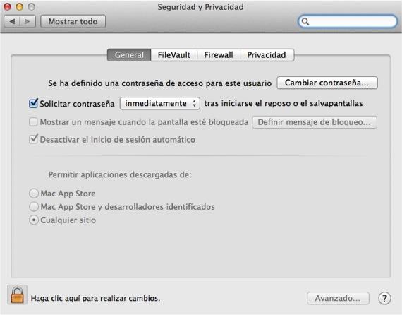 Ventana de Gatekeeper Ajustar las opciones de seguridad en OSX